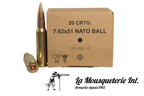 20 Cartouches 7,62x51 Nato FMJ 147grs