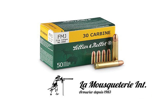50 cartouches Sellier & Bellot 30 Carbine 110grs FMJ