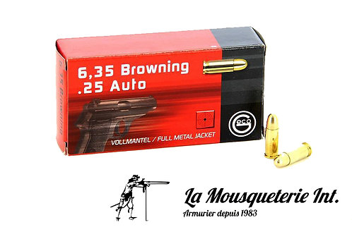 50 Cartouches Geco 6,35 Browning FMJ Round noise 49grs