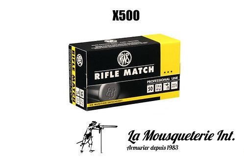 500 Cartouches RWS Rifle Match 22lr 40grs