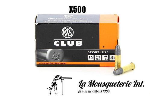 500 Cartouches RWS Club 22lr 40grs