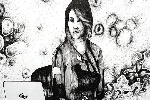 """Katherin Osorio (Colombia). """"Bitácora de un encierro"""". Dibujo a tinta.  281 USD"""