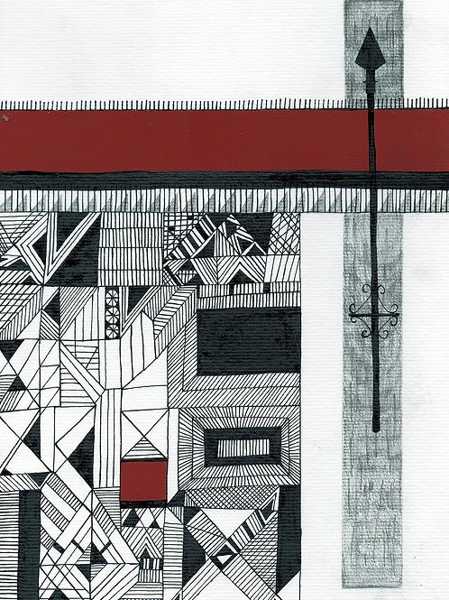 Wesler Alma (Brasil).  Dibujo, tinta acrílica sobre papel. 56 USD