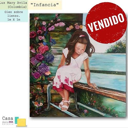 """Luz Mary Avila (Colombia). """"Infancia"""".  Pintura. 508 USD"""
