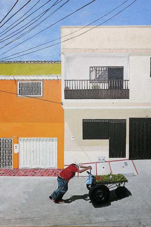"""Helga Elianeth Lázaro (Colombia). """"Misofonía al perifoneo"""". Pintura.  / 169USD"""