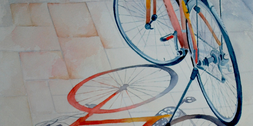 Lone Rider - Bicycle with warm Shadows Watercolour workshop with Anita Wood
