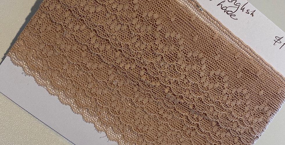 Beige Vintage English Cotton Lace Remnant