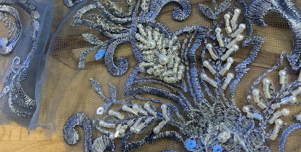 Jacaranda Hand Dyed Beade Lace Off Cut   #9001
