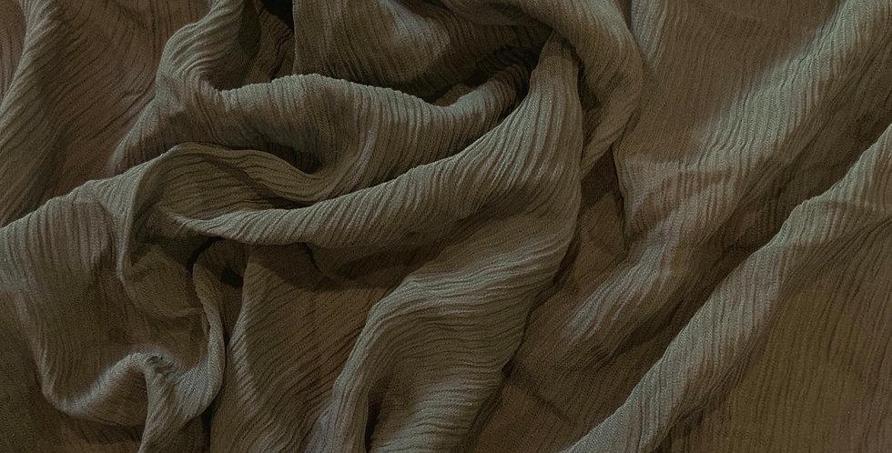 Khaki Crinkle Silk Georgette Remnant...