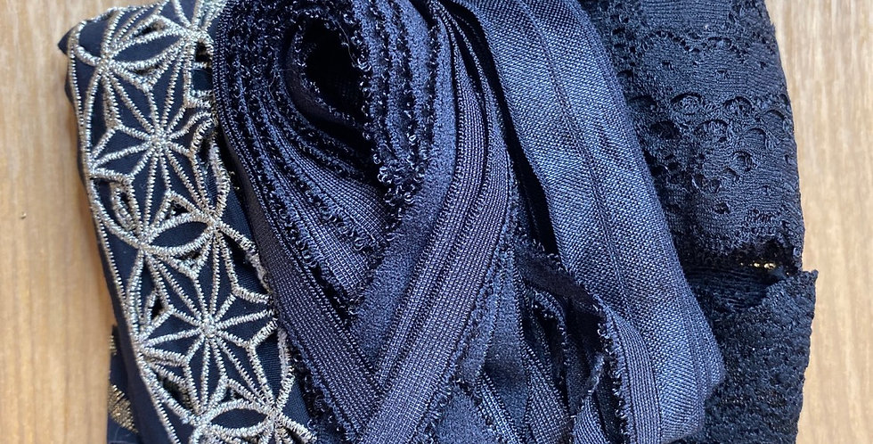 approximately 10 metres black stretch trims