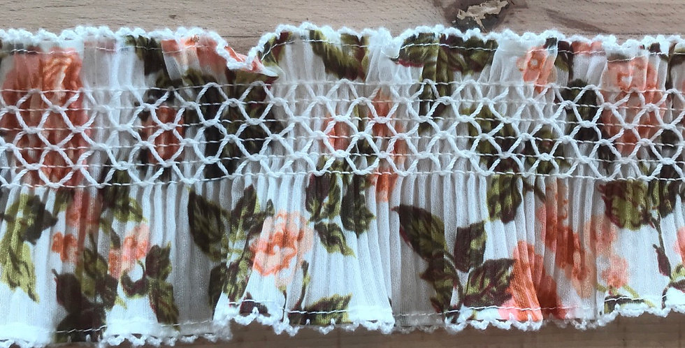 8cm apricot floral pleated frill trim