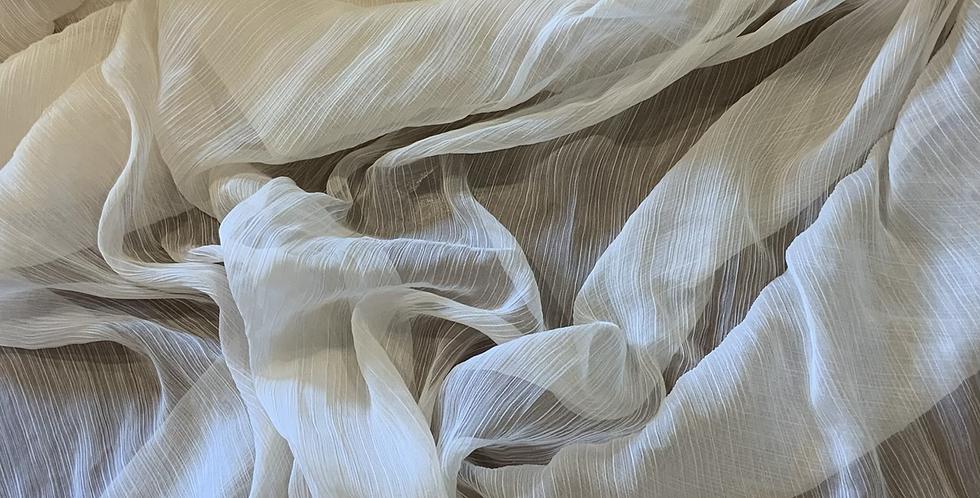 Ivory Crinkle Polyester Chiffon