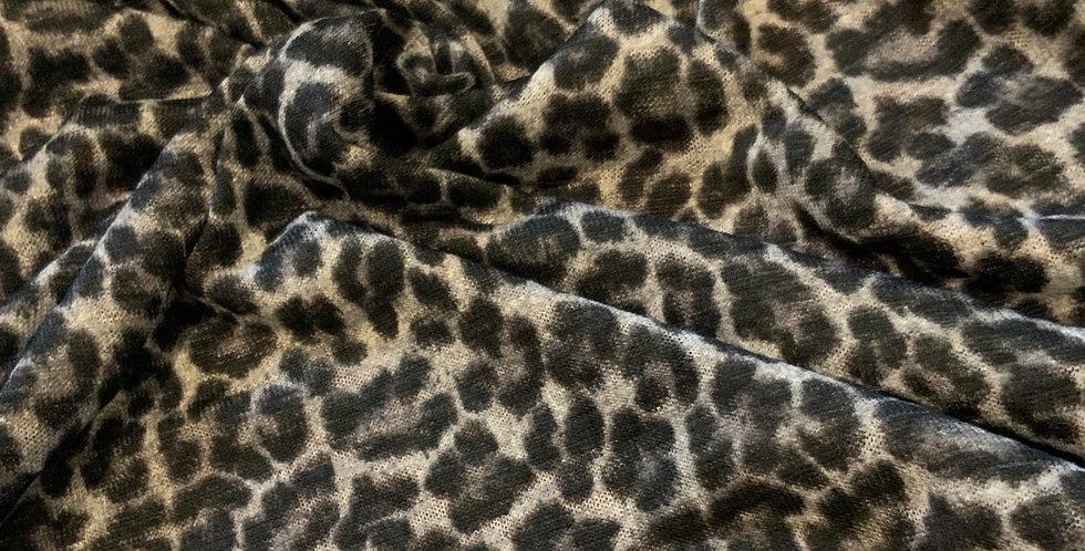 Charcoal Leopard Lightweight Slub Knit...
