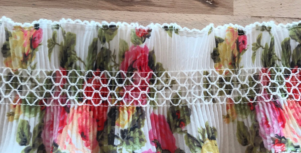 10cm Wide pink floral pleated frill Trim