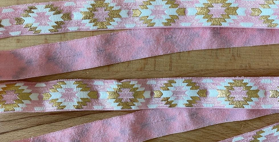 Pink Aztec fold over elastic