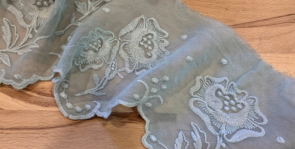 Lila Pale Duck Egg Hand Dyed Silk Trim