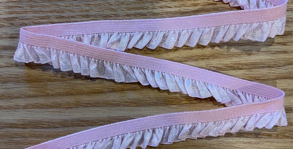 Pastel Pink Soft Ruffle Picot Elastic...