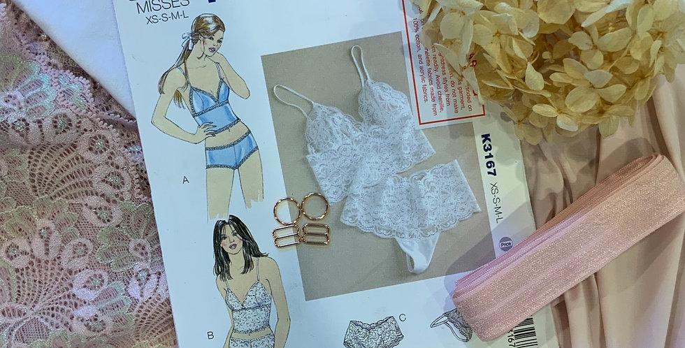 Powder Pink Lace Camisole & Pants Kit