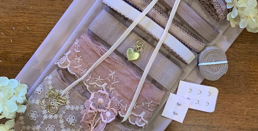 Pink Mocha Silk Lace Wired Bra Kit...
