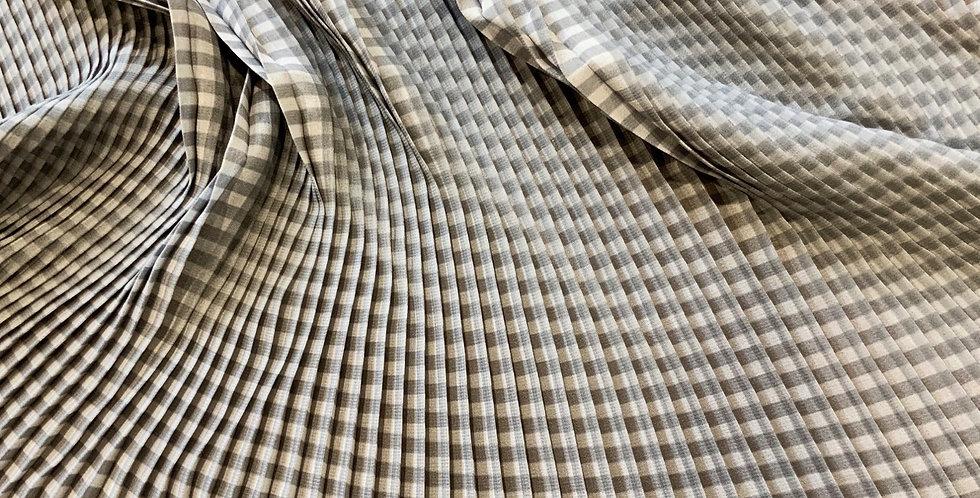 3mtr Bundle Soft Grey Check Perma Pleat Georgette...