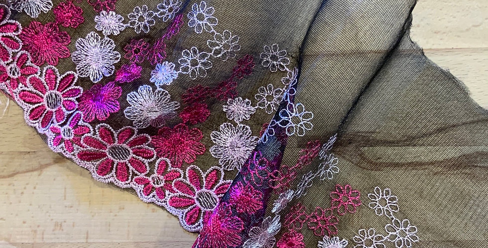 Pink Daisy Parade Embroidered Lace...
