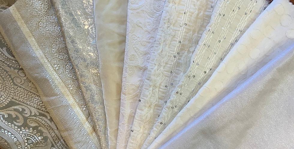 Ivory Silver Brocade Small Cuts Bundle