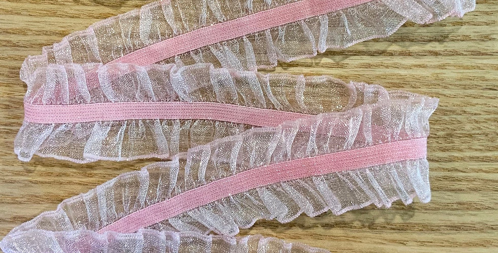 Musk Pink Double Frill Hand Dyed Stretch Trim...