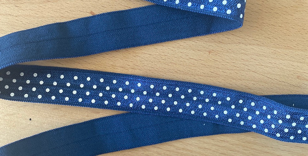 Navy spot fold over elastic