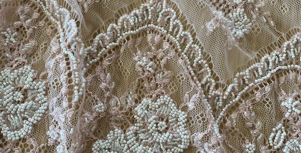 Dusty pink beaded lace piece 12