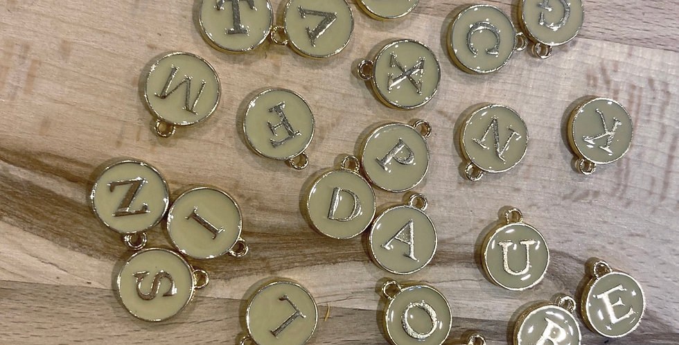 beige personalised letter charm