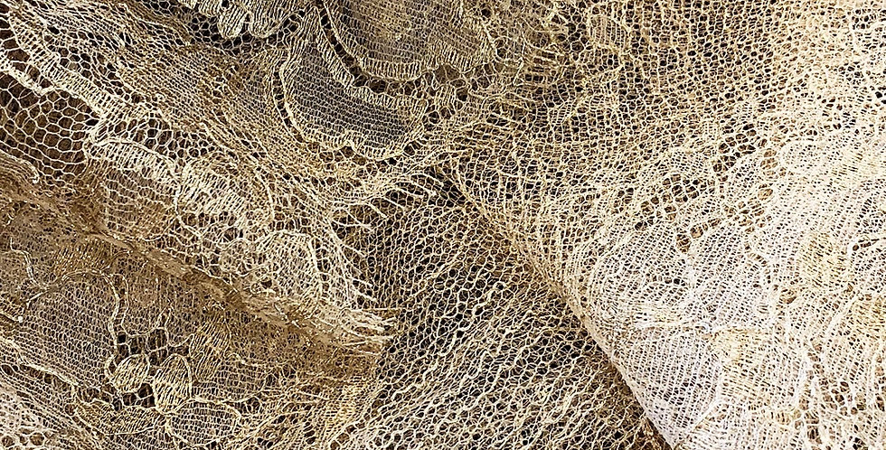 Gold Metallic French Chantilly Lace