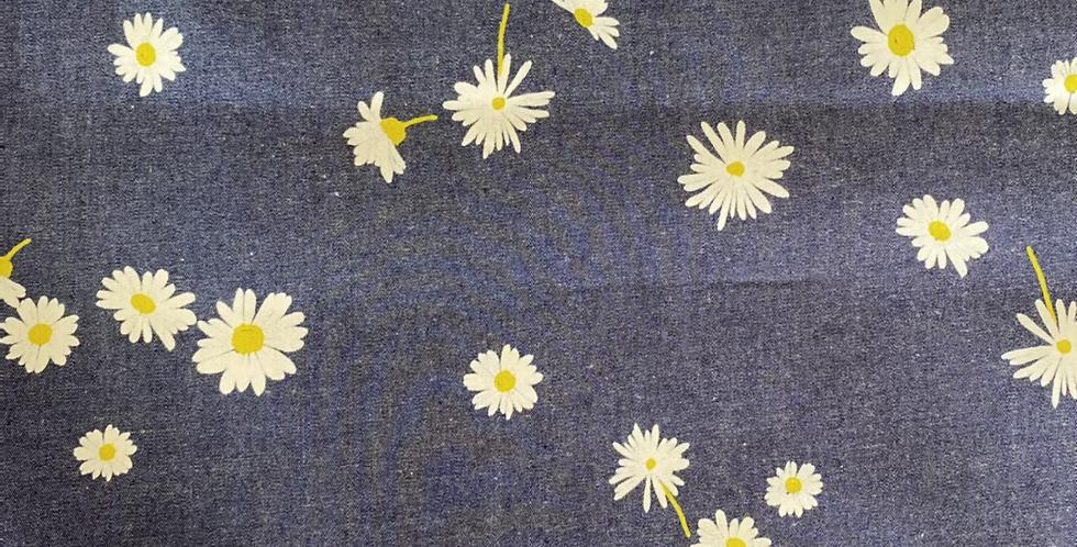 Art gallery fabrics ragged daisies denim