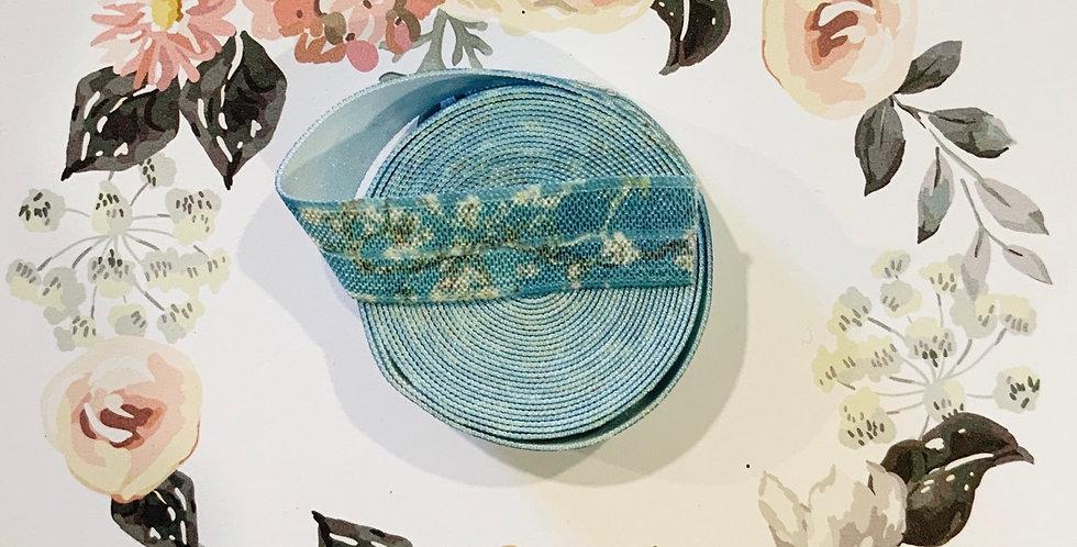 1.4mtrs Aqua blossom printed fold over elastic