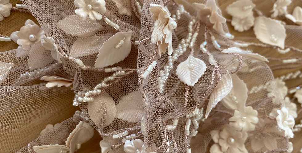 Dusty pink 3D flower embroidered tulle piece C5
