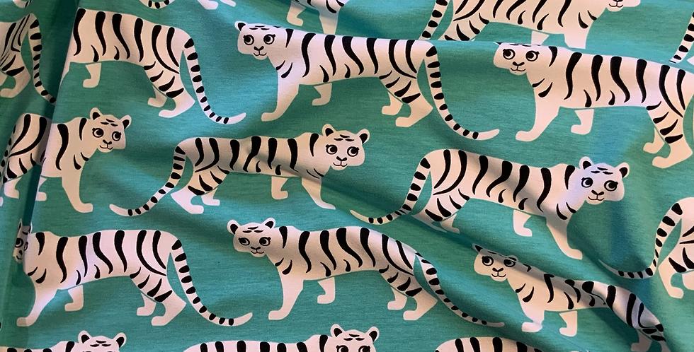 Paapii Tiger Walk Turquoise Organic Cotton Jersey…