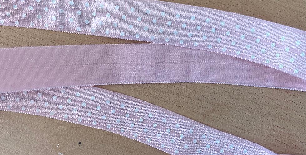 Pink spot fold over elastic