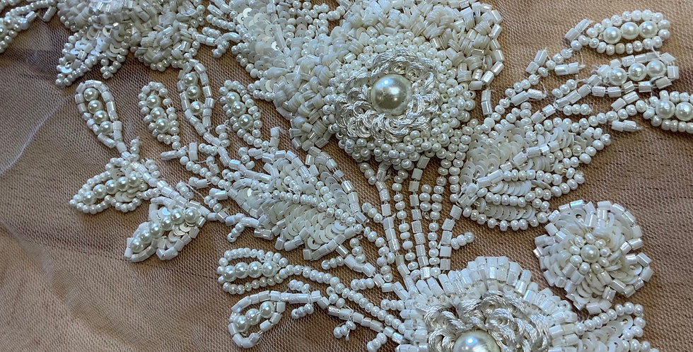 Ivory 3d Beaded Tulle Piece #J1