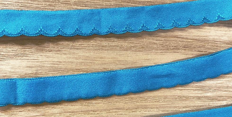 bright teal scallop edge foldover elastic