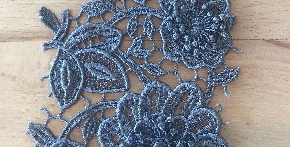 Charcoal guipure flower motif