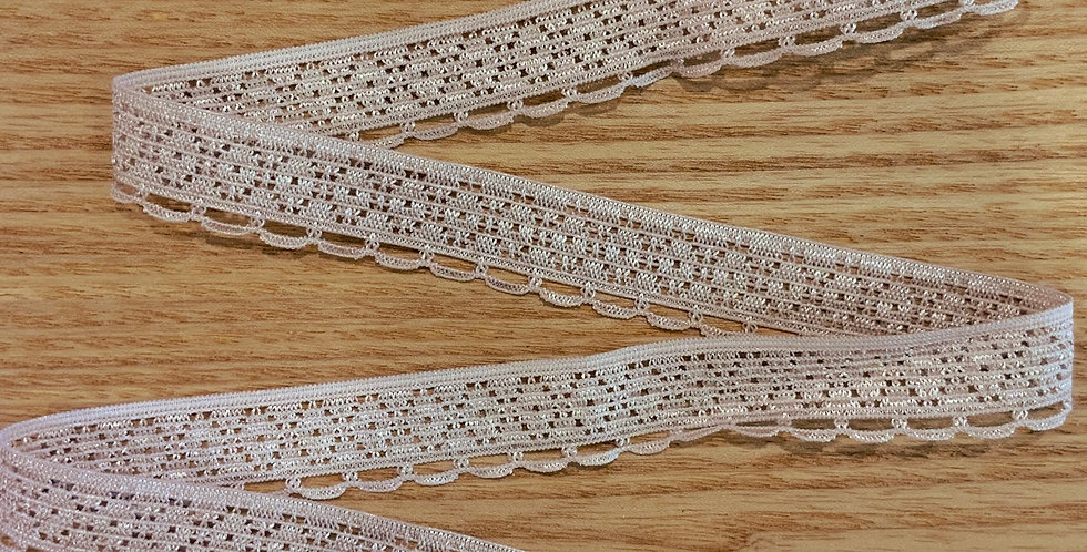 Pale Mocha Pink Hand Dyed Stretch Lace Edging...