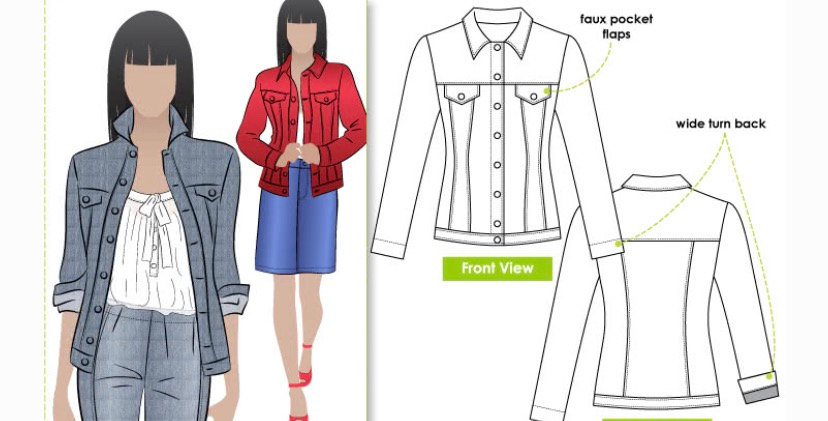 Style arc stacie jean jacket printed pattern