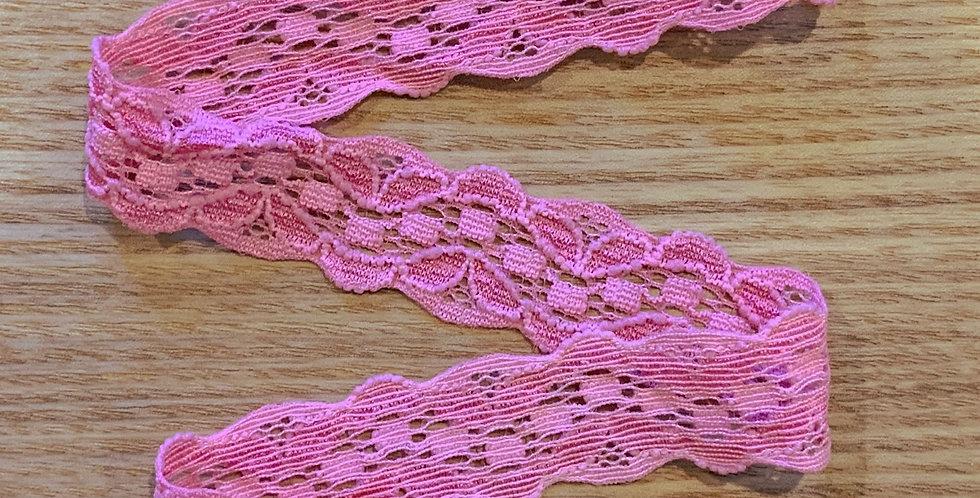 Dark Bubblegum Pink Hand Dyed Stretch Lace....