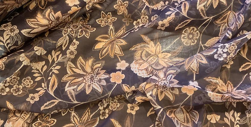 Folk Floral Cinnamon Crinkle Polyester Chiffon