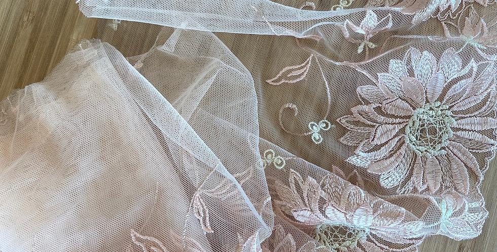 blush daisy embroidered trim