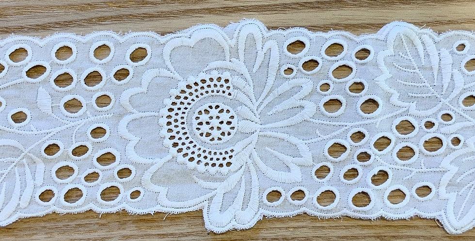 Victoria White Embroidered Cotton Voile Trim...