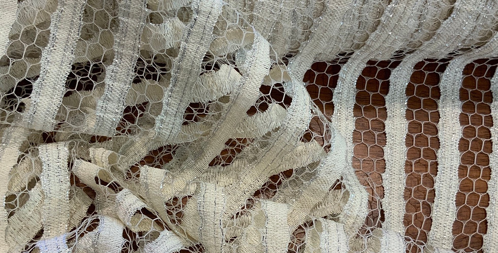 Cream Glitter Stripes French Lace...