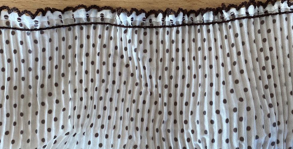 10cm Chocolate micro spot pleated frill trim