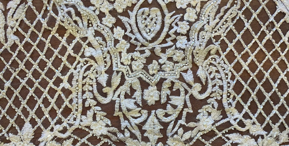 White Hand Beaded Embroidered Tulle D11...
