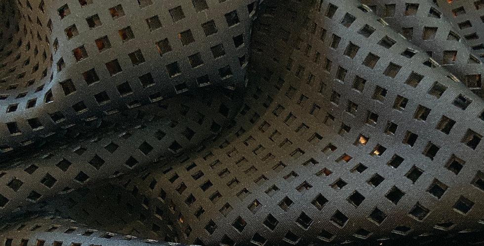 Black Perforated Squares Scuba Lycra....