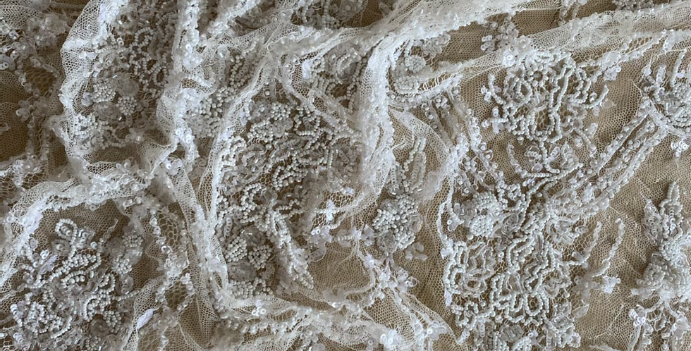 Ivory beaded silk lace piece 1